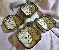 Temptations Presentable Ovenware Tara Old World Green 4 Square Bowls 8 oz Dishes