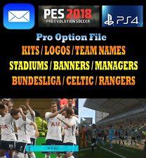 Pes 2018 Opción File PS4 Pro Evolution Soccer actualización Kits Logos enviado el mismo día