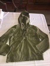 Free People Womens Army Green Hooded Pullover Jacket S Small