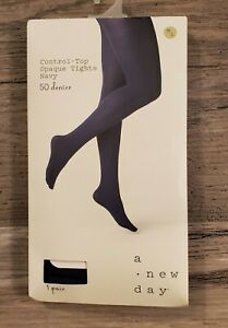 a new day Control Top Opaque Tights, Navy, M/L, 50 Denier