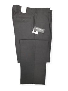 Mens Trousers Charcoal Grey Striped Wool UK Made Pants Office Work Formal Smart
