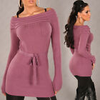 NEW SEXY KNIT OFF SHOULDER MINI DRESS/LONG JUMPER SWEATER 6 8 10 12 14 CASHMERE
