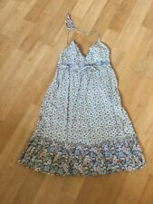 H&M DIVIDED PRETTY FLORAL STRAPPY HALTER NECK COTTON SUN DRESS UK8 EUR36 HOLIDAY