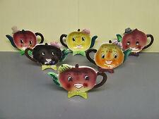 Vintage Napco 6 pcs Anthropomorphic Smiley Fruit w/Hats & Bows Tea Bag Holders