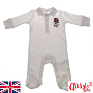 Baby England Rugby Sleepsuit-Official England Rugby Baby Sleepsuits-Baby Rugby
