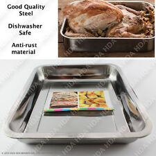 NON STICK STEEL ROASTING TRAY OVEN PAN DISH BAKING ROASTER TIN NON SLIP GRIP
