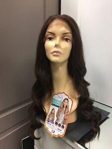 Bobbi Boss MBLF190 CARMELA Human Hair Blend Long Wavy 13x4 Lace Wig FS4/30 Brown