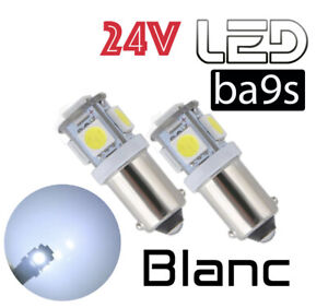 2 Ampoules T4W Ba9s 5 LED 24V BLANC Camion SCANIA IVECO RENAULT VOLVO MAN TRUCK