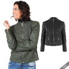 Plus Size Solid Faux Leather Coats & Jackets for Women