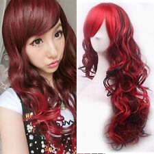 Lange Damen Anime lockige gewellte Haar Party Cosplay volle Perücke-Wig