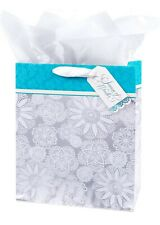 Hallmark Holiday Large Gift Bag with Tissue Paper (Snowflakes) Silver and Blue