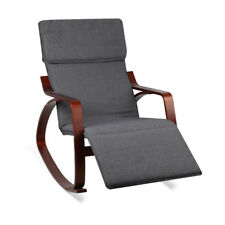 Bentwood Rocking Chair with Footrest - Dark Wood and Grey