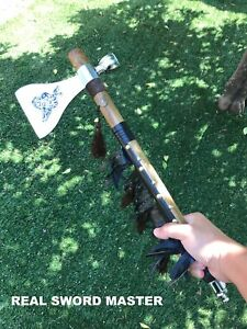 """18"""" Tomahawk Axe with Functional Smoking Tabacco Peace Pipe"""