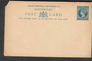 Seychelles unmailed QV Queen Victoria UPU post postal card six 6 cents