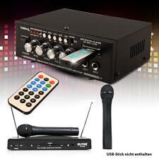 Karaoke Bluetooth USB SD MP3 Verstärker Funkmikrofon System 2x Mikro DJ-Future 3
