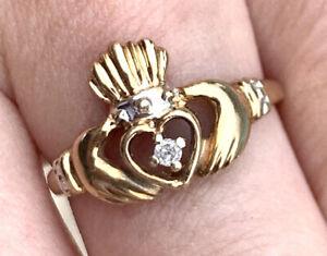 English Engagement Irish Wedding Promise Ladies 10K Yellow Gold Claddagh Ring Heritage