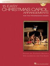 15 EASY CHRISTMAS CAROL ARRANGEMENTS-LOW VOICE MUSIC BOOK/CD-NEW ON SALE-SINGER!