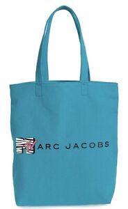 New! Marc Jacobs MTV Cottman Canvas Tote Bag Turquoise