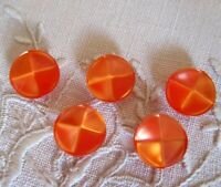 5 Lucite Tangerine Moonglow Iridescent Buttons Quarter Panel Top Vintage Nice