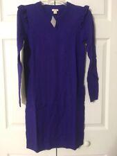 NWT J Crew Ruffle Hem Sweater Dress Size XS Deep Orchid Purple $80