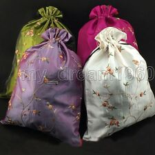 Fashion 4pcs Chinese Handmade Embroidered Flowers Silk Clothes Pouch Shoes Bags