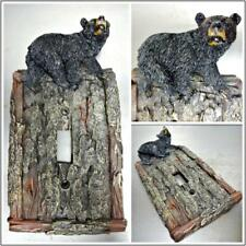 Black Bear Faux Wood Tree Bark Single Light Switch Cover Plate Cabin Lodge Deco.