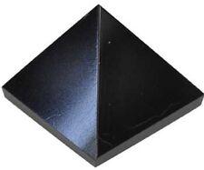 PYRAMID - BLACK ONYX 28-38mm Crystal w/Description & Pouch - Healing Reiki Stone