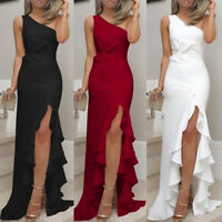 Fashion Womens One Shoulder Ruched Ruffle Formal Evening DressSlim  Maxi Dresses
