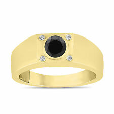 Enhaced Black Diamond Solitaire Mens Ring 14K Yellow Gold Handmade 0.55 Carat