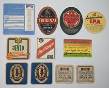 Lot of 11 Vintage Beer advertisement Paper Coasters 9 different Beer Companies
