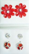 3 pair Red stud earrings 1 flower 15mm 1 cube 7mm 1 crystal 4mm