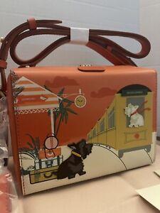 Radley London All Aboard ,Train Station, Leather Bag Orange, Scottie Dogs, NWT
