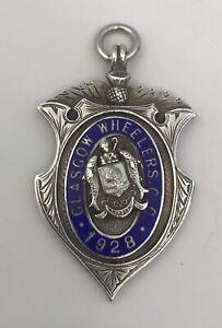 Silver & Enamel Glasgow Wheelers Cycle Club Medal 1928.   Birmingham 1928