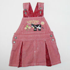 Wrangler Red Pin Stripe 18M Toddler Overall Dress Barnyard Friends Flower