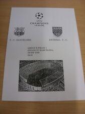 29/09/1999 Barcelona Arsenal V [Liga de Campeones] (Blanco y Negro 4 página tarjeta). (