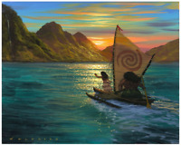 Disney Fine Art Limited Edition Canvas Sailing Into the Sun-Moana-Garcia