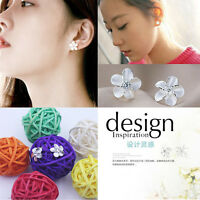 Hot Sale Chic Fashion Women's S925 Silver Plated Flower Type Ear Stud Earrings