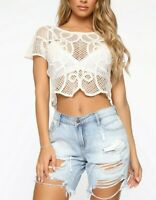 Cropped Short Sleeves Crochet Beige Boho Cute Sexy Stylish Casual Top Medium M