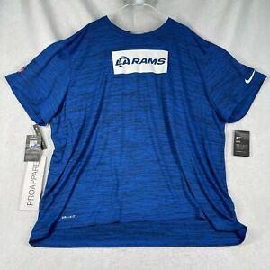 Nike Los Angeles LA Rams Dri-Fit Blue Heather Shirt 4XL-TALL CK2025-405 NWT