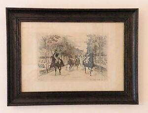 """Auguste Andre Lancon """"Entre Sierck et Thionville 1¦er¦ août 1870"""" Etching FRAMED"""