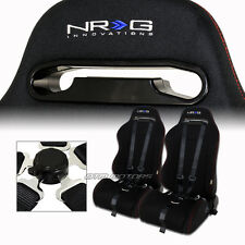 2X NRG Black Cloth Red Stitching Racing Seats +Black Seat Belt Set For Nissan