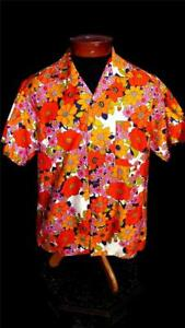 VINTAGE 1970'S POLISHED COTTON FLORAL PRINT MADE IN HAWAII SHIRT SIZE MEDIUM