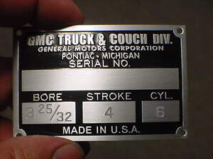 GMC Truck & Couch Div. data plate acid etched aluminum Screw Up Flawed