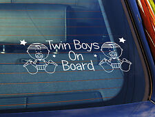 Static Cling Window Car Sign/Decal Twin Boys On Board Babies 100mm x 250mm 22