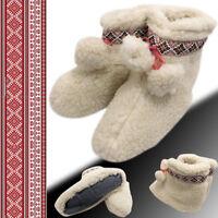PATRIOTIC UKRAINIAN WOOL WOMEN'S GENUINE SHEEPSKIN SLIPPERS BOOTS 100% PURE