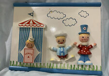 Vintage Nursery Wall Plaque Originals by Irmi Baby Pastels 3D Circus Performers