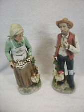 """Homco Vintage Old Man and Woman Farmers Chickens #1434 10"""""""