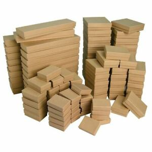 Khaki Kraft Cotton Filled Gift Boxes Jewelry Cardboard Box Lots of 10~20~50~100