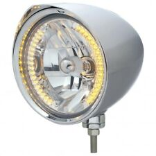 "UNITED PACIFIC ""CHOPPER"" Headlight w/ Razor Visor - 34 Amber LED H4 Bulb 32527"