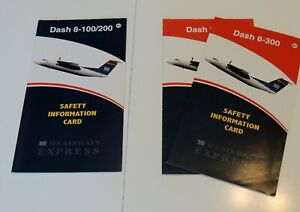 Pre-Owned Set of US Airways De Havilland Dash 8-100/200/300 Airline Safety Cards